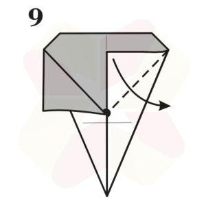 Lechuza de Origami - Paso 9