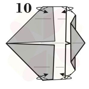Gorrión de Origami - Paso 10