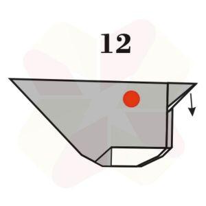 Gorrión de Origami - Paso 12