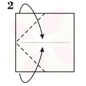 Gorrión de Origami - Paso 2