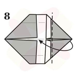 Gorrión de Origami - Paso 8
