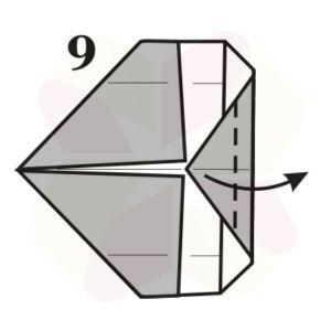 Gorrión de Origami - Paso 9