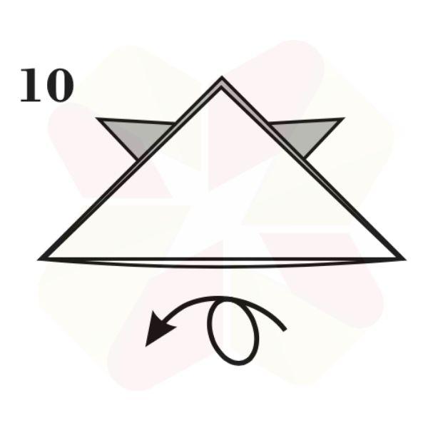 Sombrerito Samurai de Origami - Paso 10